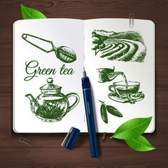 Hand drawn sketch tea set.