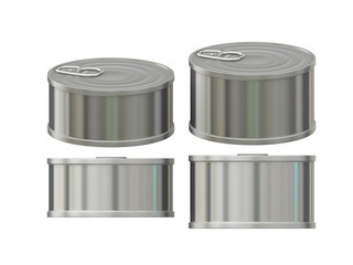 Short cylindrical aluminum  tin can with pull tab, clipping path