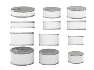 Set of white short  cylindrical tin cans in various sizes, clipp