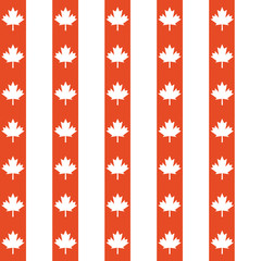 Seamless vector pattern of red and white maple leaves.