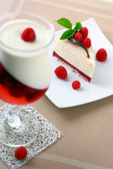Cake with a raspberry and panna cotta