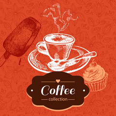Vintage coffee background. Hand drawn sketch illustration. Menu