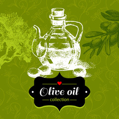 Vintage olive background with hand drawn sketch illustration and