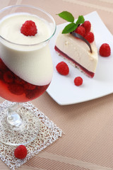 Panna cotta and cake with a raspberry