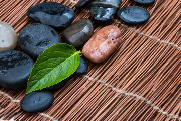 pebbles and green leaf over bamboo mat