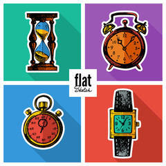 Set of sketch hand drawn clocks. Flat icons