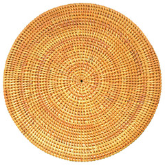 Woven Rattan in Round Pattern Isolated with Clipping Path.