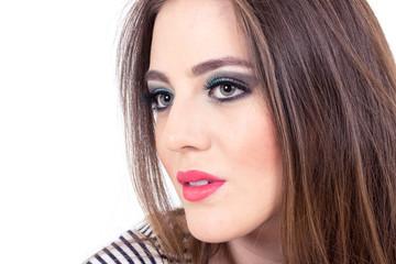 beautiful green eyed girl wearing makeup