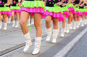 Pretty drum majorettes on carnival