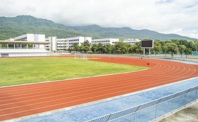 Runners racetrack   surrounded by mountain