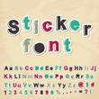 Sticker font. Vector illustration.