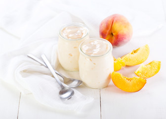 peach yogurt with fresh fruits