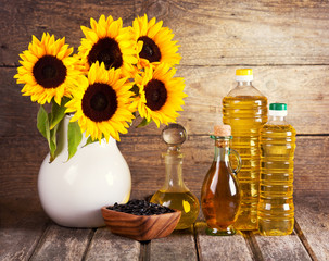sunflower oil and flowers