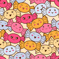 Seamless kawaii cartoon pattern with cute candies.