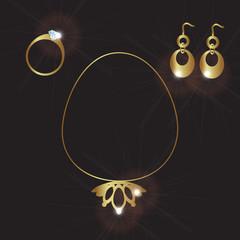 lady jewels gold set eps10
