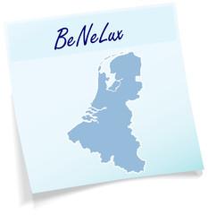 BeNeLux-Laender als Notizzettel