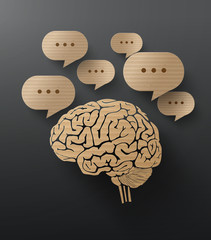 Vector Cardboard  of brain and bubble speech.