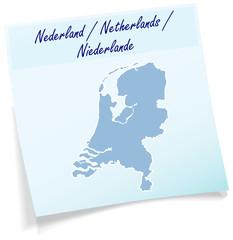 Niederlande als Notizzettel
