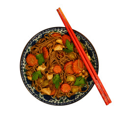 Chicken soba noodles with carrot, squash and coriander leaves is
