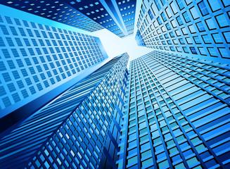 Blue skyscraper office building,urban city