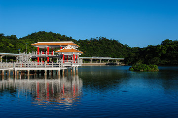 a park with beautiful lake in Taipei