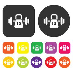 Weight training icon. Health and fitness symbol. Round and recta