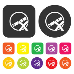 No smoking icon. Health and fitness symbol. Round and rectangle