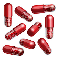 Medical red capsule with granules