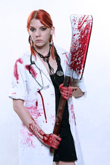 Female doctor with blooded cleaver