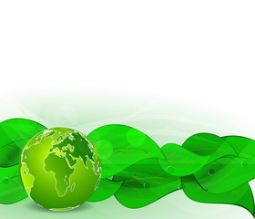 Green leaves bio background with globe