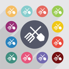 farm circle, flat icons set