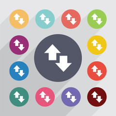 up and down arrow circle, flat icons set