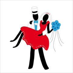 coppia di sposi stilizzati in rosso e bianco