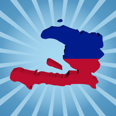 Haiti map flag on blue sunburst illustration