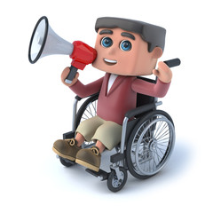 3d Boy in wheelchair speaking through megaphone