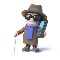 3d Blind man chats on a cellphone