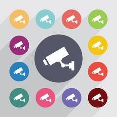 security cameracircle, flat icons set