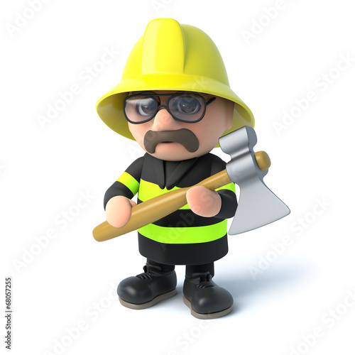 3d Fireman with his axe