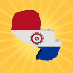 Paraguay map flag on sunburst illustration