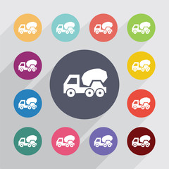 concrete mixer circle, flat icons set