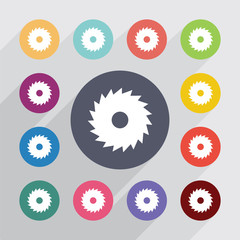 industrial saw circle, flat icons set