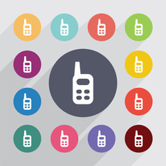 radio circle, flat icons set