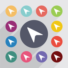 arrow pointer circle, flat icons set