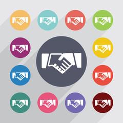 Handshake circle, flat icons set