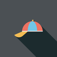 Peaked cap flat icon with long shadow