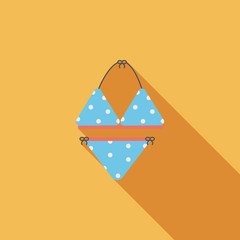 Swimming suit flat icon with long shadow