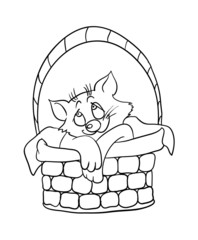 Cartoon kitten in a basket, vector illustration