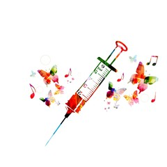 Colorful vector syringe design with butterflies