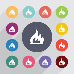 fire, flat icons set