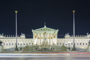 Austrian Parliament at night
